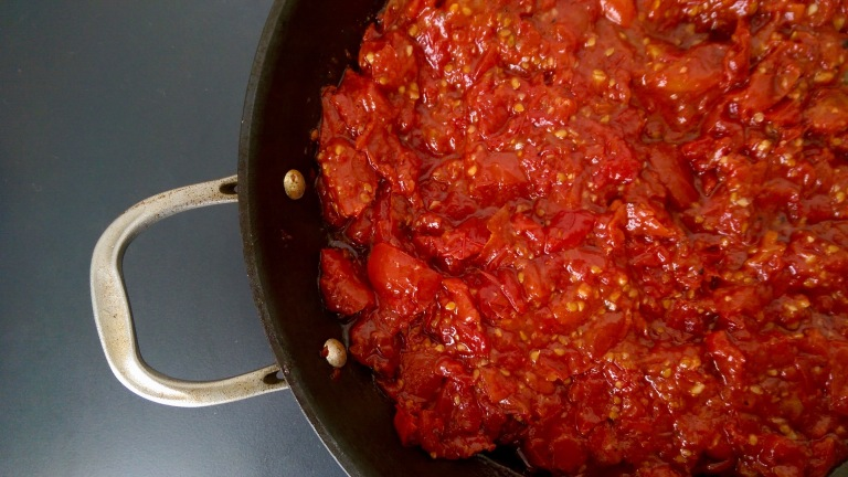 Slow roasted tomato sauce, made from second grade tomatoes.