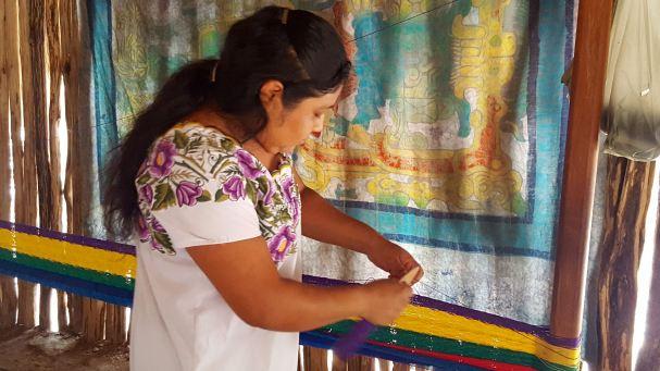Maya woman weaving a hammock, Aldea Ahau Chooc, Quintana Roo.