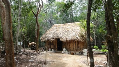 Central kitchen building, hurricane proof palapa.