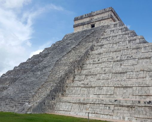 Chichen Itza, El Castillo, facade showing contrast between reconstructed surface and decayed.