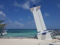 Faro Inclinado, a victim of the hurricanes, Puerto Morelos, Quintana Roo.
